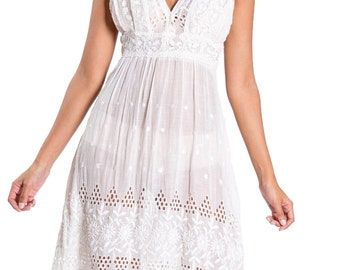 Edwardian White Cotton Floral Embroidered Eyelet Sundress With Filet Lace Details Size: