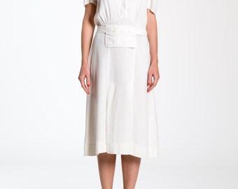 1930s Nurses White Puff Sleeve Midi Dress With Waist Best Pocket