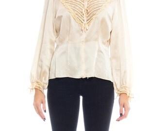 1970s Silk Lace Blouse Size: L