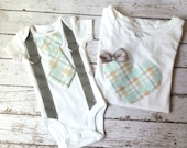 Big sister, Little brother shirt & bodysuit set, tie for him heart for her, matching, plaid, gray, white, Sibling Set, gift, child fashion