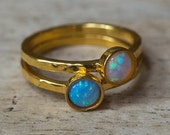 Gold Stacking Rings, Opal Rings, Stacking Rings, Birthstone Rings, October Birthstone, Layering Rings, Nesting Rings, Simple Rings, Opals