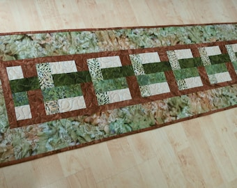 Quilted Table Runner Earthy Batiks Quilt 590