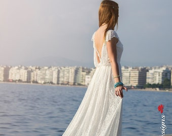 Backless Wedding Dress, SuzannaM, Bohemian Gown, Boho Bridal Dress, Open Back Wedding Dress, Ivory Lace Dress, Lace Wedding Dress, Penelope