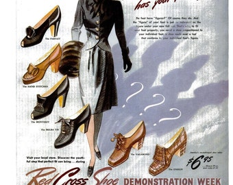 1942 Red Cross Shoes WWII Fashion & Glenmore Kentucky Straight Bourbon Whisky Ad Wartime Millinery Shoeaholic Fashionista 40s Wall Art Print