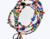 60s Woodstock Festival Inspired Colorful Vintage Glass Love beads Peace Sign long necklace