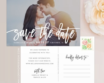Handwritten Photo Save the Date Postcard / Magnet / Flat Card - Save the Date Magnet, Photo Wedding Magnet, Wedding Save the Date