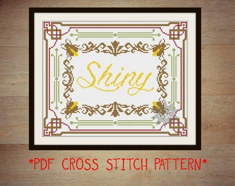 Firefly 'Shiny' traditional saloon sign style counted cross stitch sampler pattern