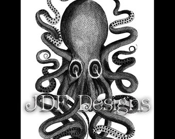 Instant Digital Download, Vintage Antique Graphic, Octopus, Cuttlefish, Nautical, Ocean Adventure, Sea Creature, Etching, Steampunk, Summer