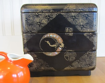 1950's Japanese Lacquerware Bento Box, Bento Box, Japan, Japanese, Lacquer, Lacquerware, Jubako Box, Chinoiserie, Lunch Box, 1950's, Asian