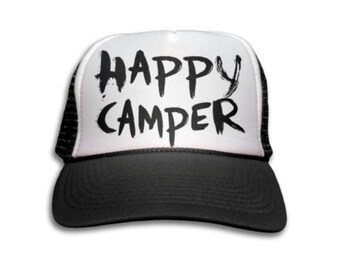 Trucker Cap - Happy Camper Trucker Hat - Snapback Mesh Hat - Summer, Quote, Vacation, Holiday, Camp Counselor, Funny,