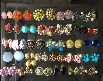 Vintage Lot of Rhinestone & Beaded Clip-On Earrings - 30 Pairs - Very Colorful - Wearable or Assemblage