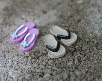 SET of Two - Miniature HIS and HERS Flip Flops for your Miniature Beach Scene or Wedding Cake Topper  - by Landscapes In Miniature