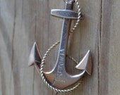 HOLD Gorgeous antique sterling silver victorian fouled anchor brooch / nautical brooch / souvenir of Pretoria, South Africa / HGFDER