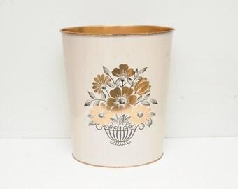 Vintage 1960s Decoware Floral Waste Basket