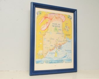 Maine Print Lobster Blue Nautical