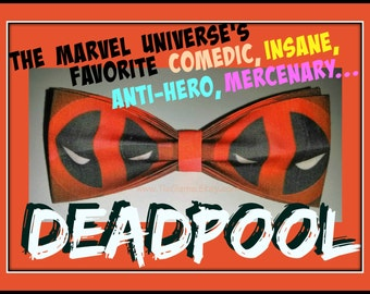 The Merc With a Mouth: DEADPOOL - BowTie Made From Marvel Comics Deadpool Fabric - U.S.SHIPPlNG NEVER M0RE THAN 1.99