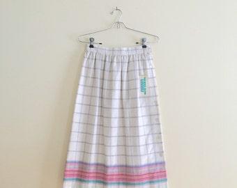 Vintage Winter White & Pastel Stripe Wool Blend Skirt / Plaid Skirt / High Waisted Secretary Skirt / Union Made / 1970s
