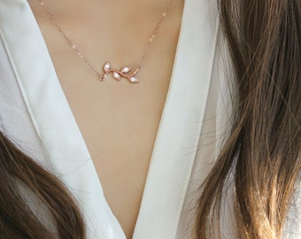 14k Rose Gold filled Necklace with dainty cubic zirconia twig, branch leaves, pink gold, layering necklace, cz diamonds, rose gold necklace