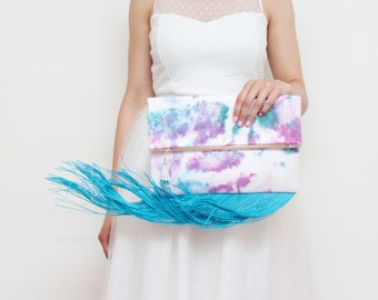 WINDY 9 / Large dyed cotton fold over daily clutch bag with long fringes - Ready to Ship