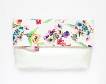 FALL HANDY 18 /Large clutch purse-floral handbag-fold over bag-white leather bag-oversized floral bag-white multicolor - Ready to Ship