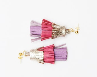 PINEAPPLE 51 / Layered natural leather statement tassel earrings - Ready to ship