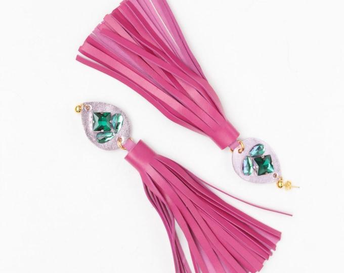 Leather tassel earrings-Statement earrings-Red jewelry-Fashion earrings-embroidered gemstones-fringe earrings- pink green teal / MIRACLE 12