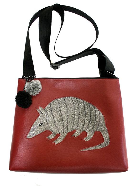 armadillo, silver, glitter vinyl, burgundy, pom poms, vegan, vegan leather, large, cross body bag