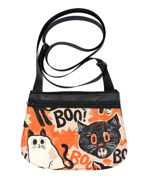 Halloween, cat, ghost, black vinyl, cross body, vegan leather, zipper top