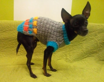 Small Dog Sweater -Chihuahua sweater-Pet Sweater-Dog Costume -Knitted Dog Sweater size S
