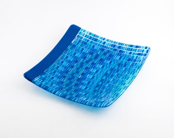Modern Plate, Blue Glass Plate, Fused Glass, Serve-ware, Blue Kitchen Accessories, Bargello Design, Unique Home Decor, Wedding Gifts