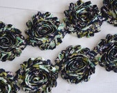 Navy/aqua floral Pattern Floral Shabby Chiffon Flower Trim - Your choice of 1 yard or 1/2 yard -  Chiffon Rose Trim, DIY headband supplies,