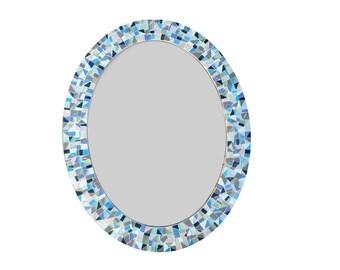 Large Oval Mirror / Decorative Wall Mirror / Mosaic Mirror  / Blue, Gray, Black, Green, Aqua