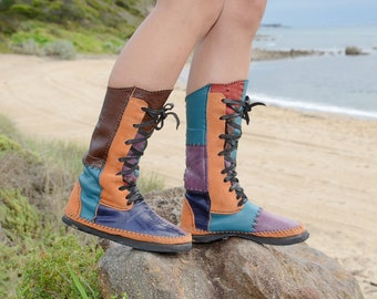 hand made hand stitch patchwork leather boots