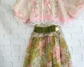 palest pink floral organdy & lace cropped jacket by mermaid miss Kristin
