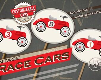 race car cupcake toppers, race car tags, race car birthday, race car baby shower, race car first birthday, vintage race car party, race cars