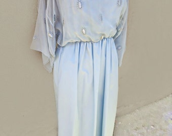 70's Long Blue Dress, Light Blue Dress, Blue Maxi Dress, Angel Sleeve Dress, Bohemian Dress, Boho