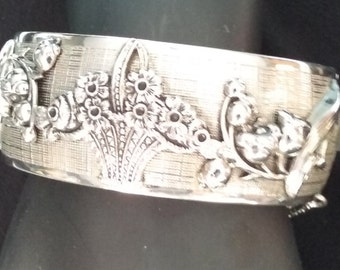 Vintage Whiting & Davis wide cuff bracelet in silver color