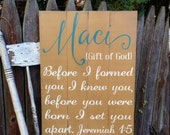 Name Meaning Nursery Child Personalized Rustic Distressed Pallet Style Sign Jeremiah 1:5 verse Great Baby Gift 16x22