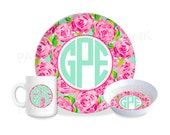 "Preppy Floral Monogram Personalized 10"" Melamine Plate, 5"" Bowl, 10 Ounce Mug 