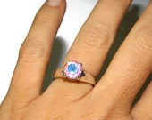 Opal Quartz Ring, Solitaire, Round Stone, Sterling Silver