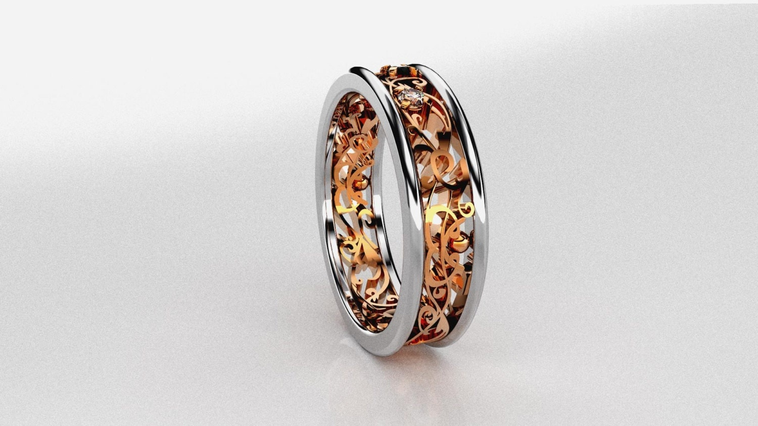 two tone filigree ring gold white gold by