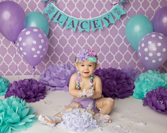 FIRST BIRTHDAY GIRL Banner / Shabby chic birthday banner / Cake smash banner / Shabby chic nursery / Smash cake. Purple and teal baby shower