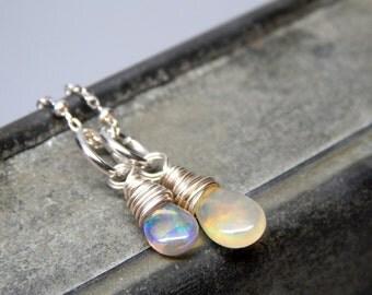 Fire opal necklace, opal charm necklace, delicate opal jewelry, fire opal jewelry, October birthstone necklace opal