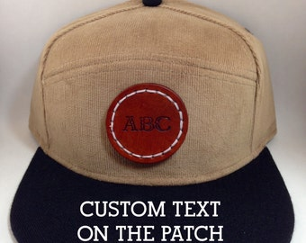 Custom Personalized Snap Back Baseball Hat Cap with Leather Patch, Snapback One size fits all Caramel Corduroy hat