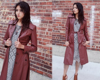 70's Burgundy Leather Trench Coat with Oversized Collar and Attached Belt Made in Uruguay Size XS