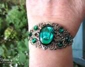 Emerald Gunmetal Bracelet, Emerald Green Cuff, Swarovski Rhinestones, Black Wedding