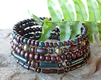 Stacked bead bracelets - forest green bloodstone March birthstone & wood