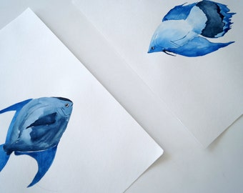 SET OF 2  original paintings. Watercolor on paper. modern art. Fish art, fish painting. Minimalist. Fish in watercolor.