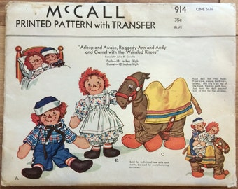 UNCUT Vintage 1940's Raggedy Ann and Andy and Camel with Wrinkled Knees Pattern with Transfer McCall 914