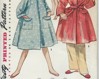 UNCUT Vintage 1950's Girl's Robe, Smock, Cover Up Sewing Pattern Simplicity 4504